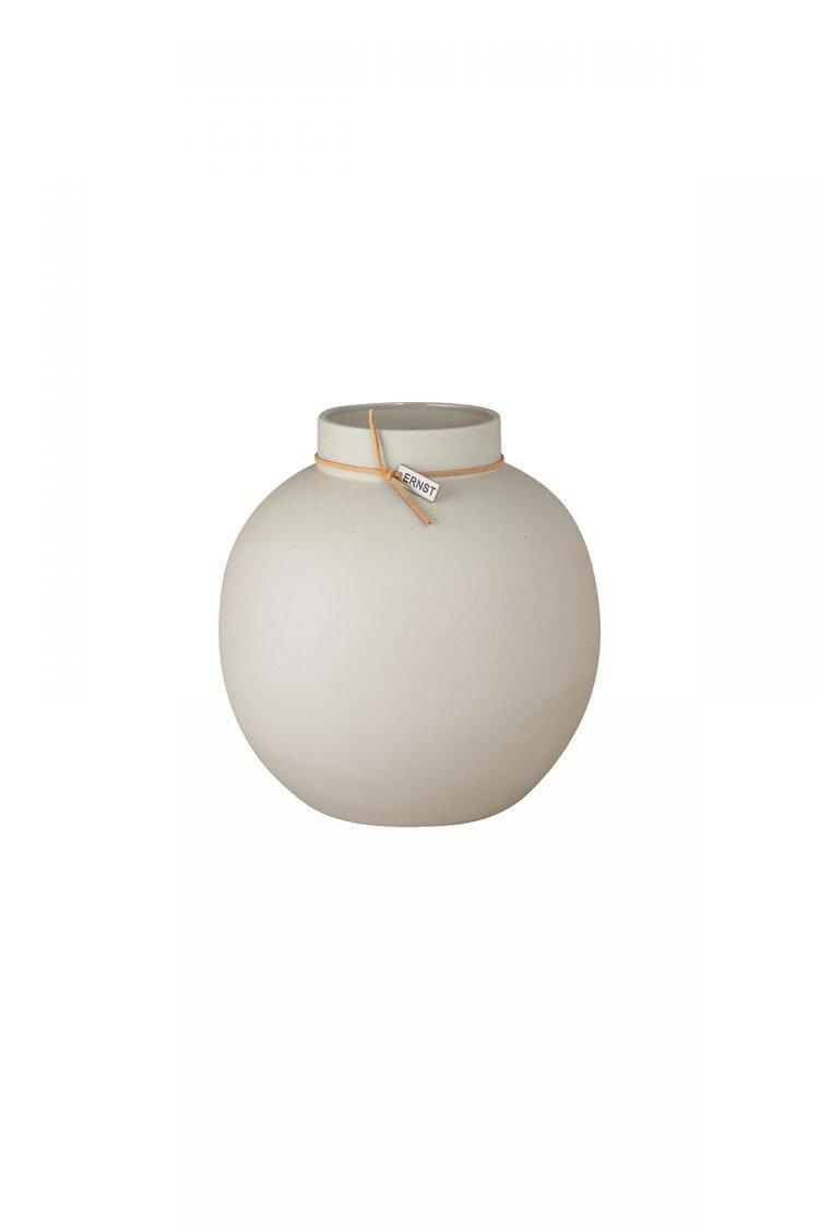 Vase Steingut rund, Beige