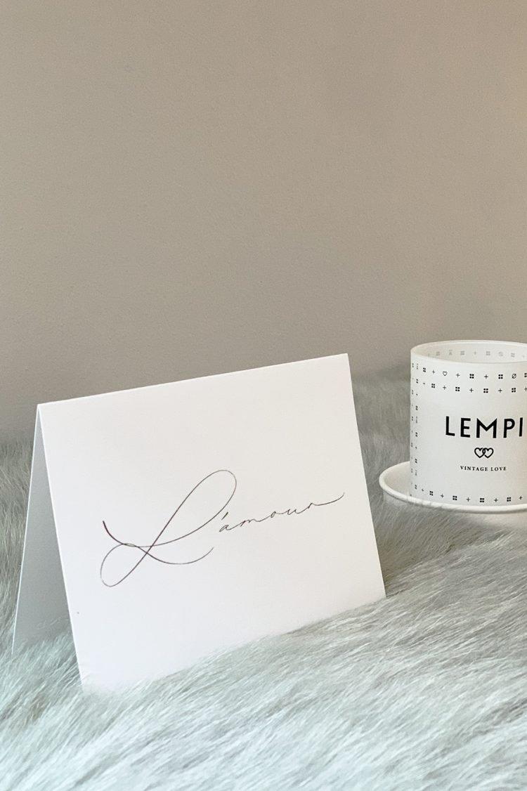 Grußkarte L'amour, Handlettering