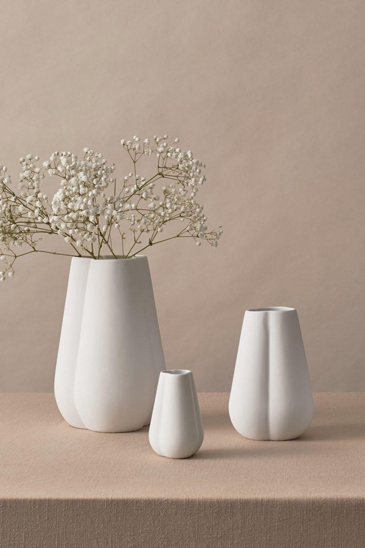 Vase Clover, Weiss